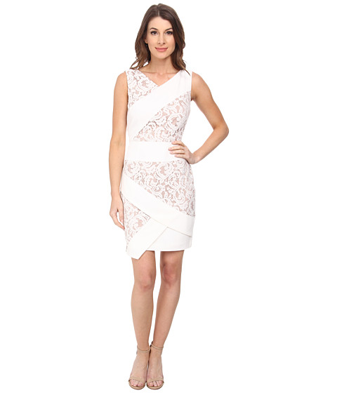 Adrianna Papell - Mixed Media Sleeveless Crepe and Lace Dress (Ivory/Pale Pink) Women