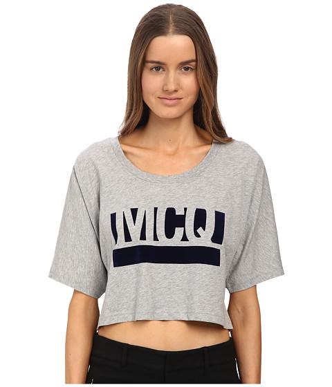 McQ - Cropped T-Sleeve (Grey Melange Logo Jersey) Women's T Shirt