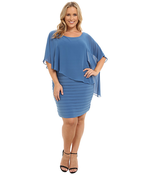Adrianna Papell - Plus Size Chiffon Drape Overlay with Banding Dress (Blue Lake) Women's Dress