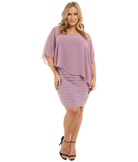 Adrianna Papell - Plus Size Chiffon Drape Overlay with Banding Dress (Dusty Rose) Women's Dress