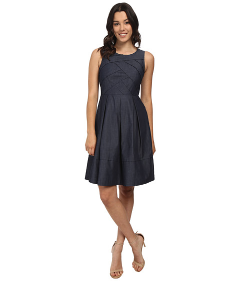 Adrianna Papell - Cross-Over Banded Chambray Dress (Midnight) Women