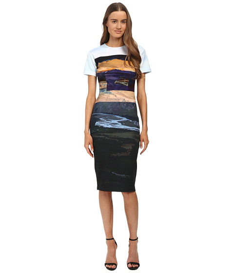 McQ - Long Bodycon Dress (Multi Landscape Print) Women