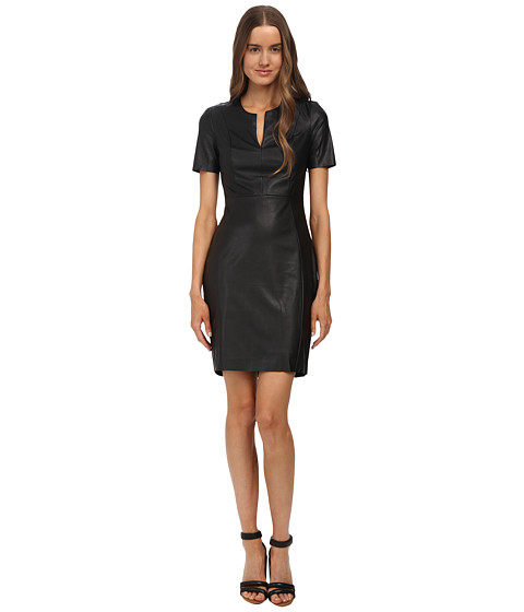 McQ - New Contour Dress (Darkest Black Fake Leather) Women's Dress