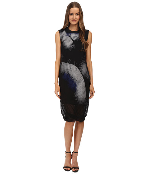 McQ - Feather Dress (Darkest Black Trapped Feather) Women's Dress