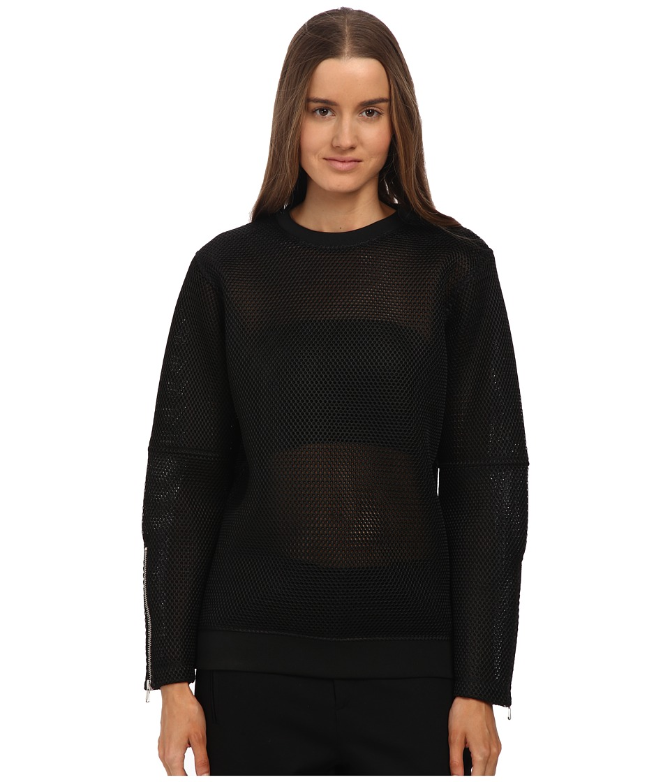 McQ - Zip SL Jumper (Darkest Black Mesh Jersey) Women