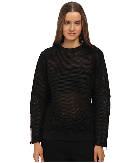 McQ - Zip SL Jumper (Darkest Black Mesh Jersey) Women's Clothing