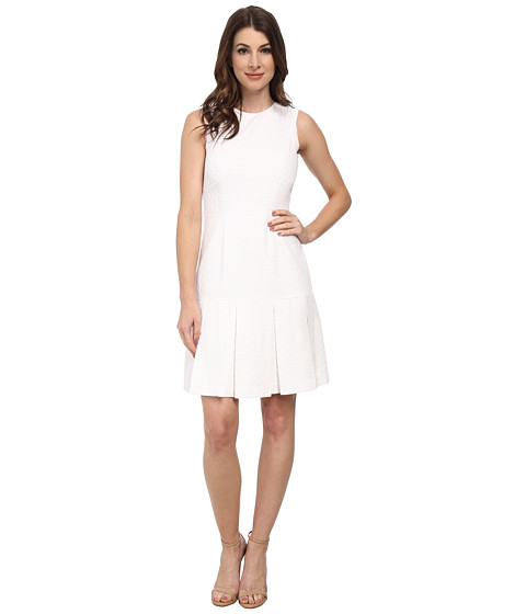Calvin Klein - Cotton Fit and Flare Dress (White) Women