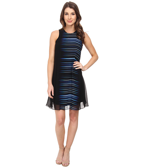 Calvin Klein - Scoop Neck Flared Dress (Regatta Multi) Women