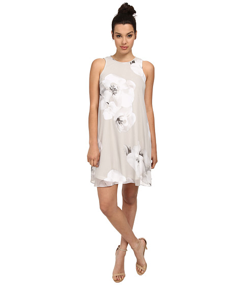Calvin Klein - Halter Neck Flared Dress (Grey Multi) Women