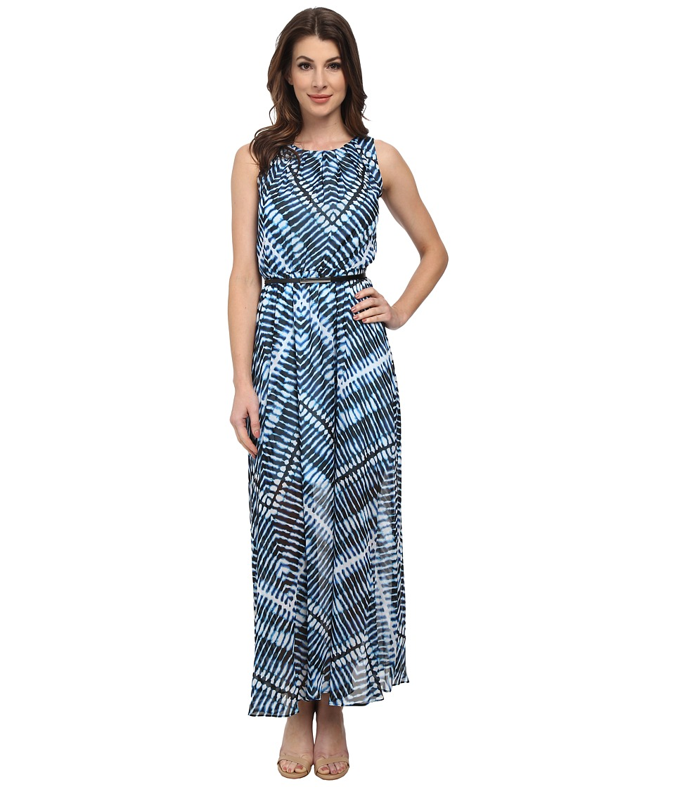Calvin Klein - Scoop Neck Chiffon Maxi Dress (Adriatic Multi) Women's Dress