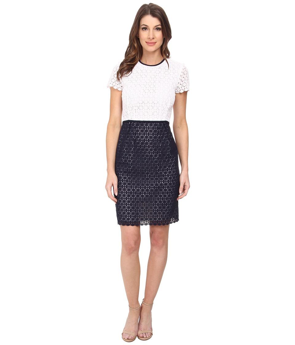 Calvin Klein - Eyelet Sheath Dress (White/Twilight) Women's Dress