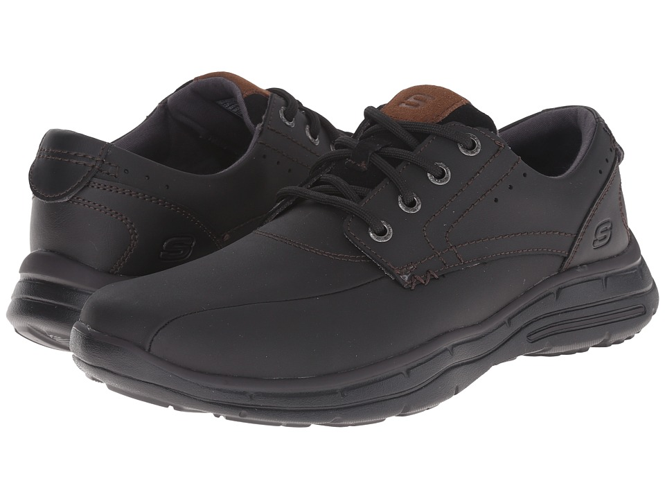 SKECHERS - Glides Hodge (Black/Tan) Men's Lace up casual Shoes