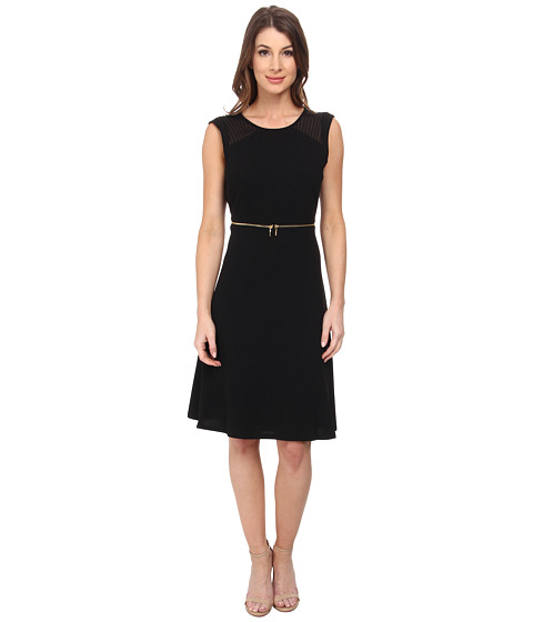 Calvin Klein - Fit and Flare with Zipper at Waist Dress (Black) Women