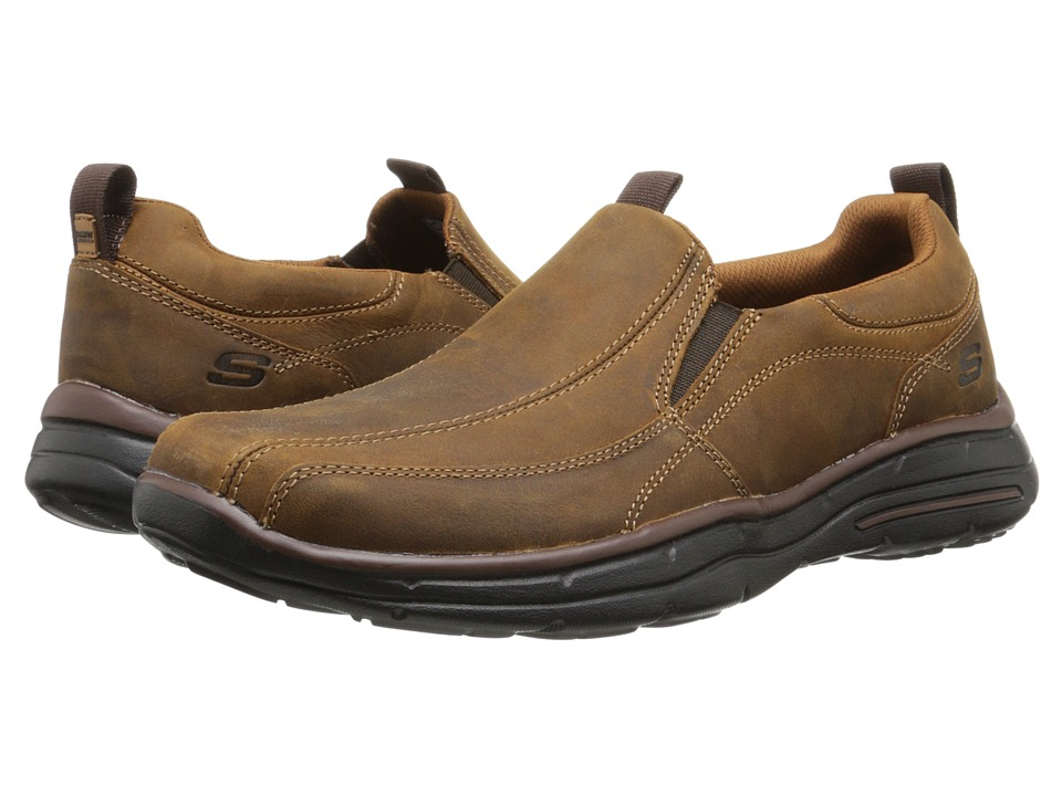 SKECHERS - Glides Dockland (Dark Brown) Men's Slip on Shoes