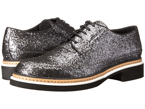 McQ - Columbia Lace Shoe (Gunmetal Glitter Fabric) Women's Lace Up Wing Tip Shoes