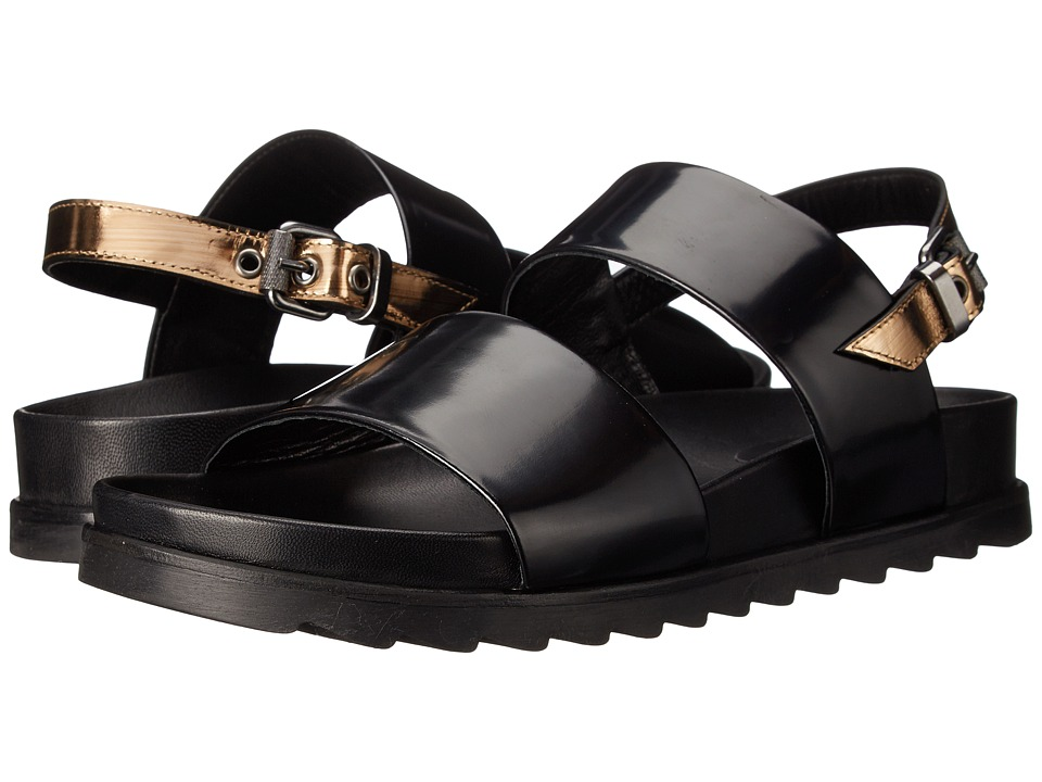 McQ Stoke Sandal (Black/Gold Brush Off Leather) Women