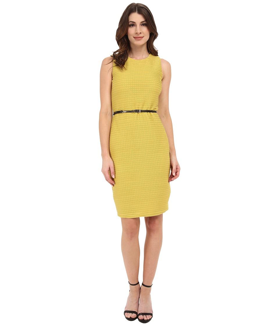 Calvin Klein - Textured Jersey Sheath Dress (Chartreuse) Women's Dress