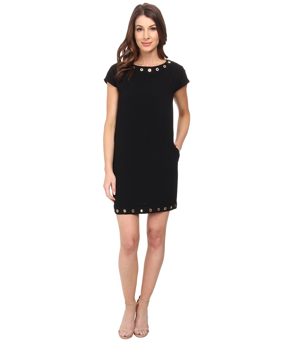 Calvin Klein - Cap Sleeve Dress w/ Hardware Detail (Black) Women's Dress