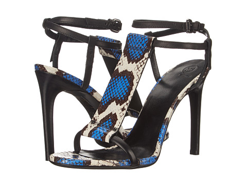 McQ - Stow T-Bar Sandal (Blue/White/Black Elaphe Snake Leather) Women's Dress Sandals
