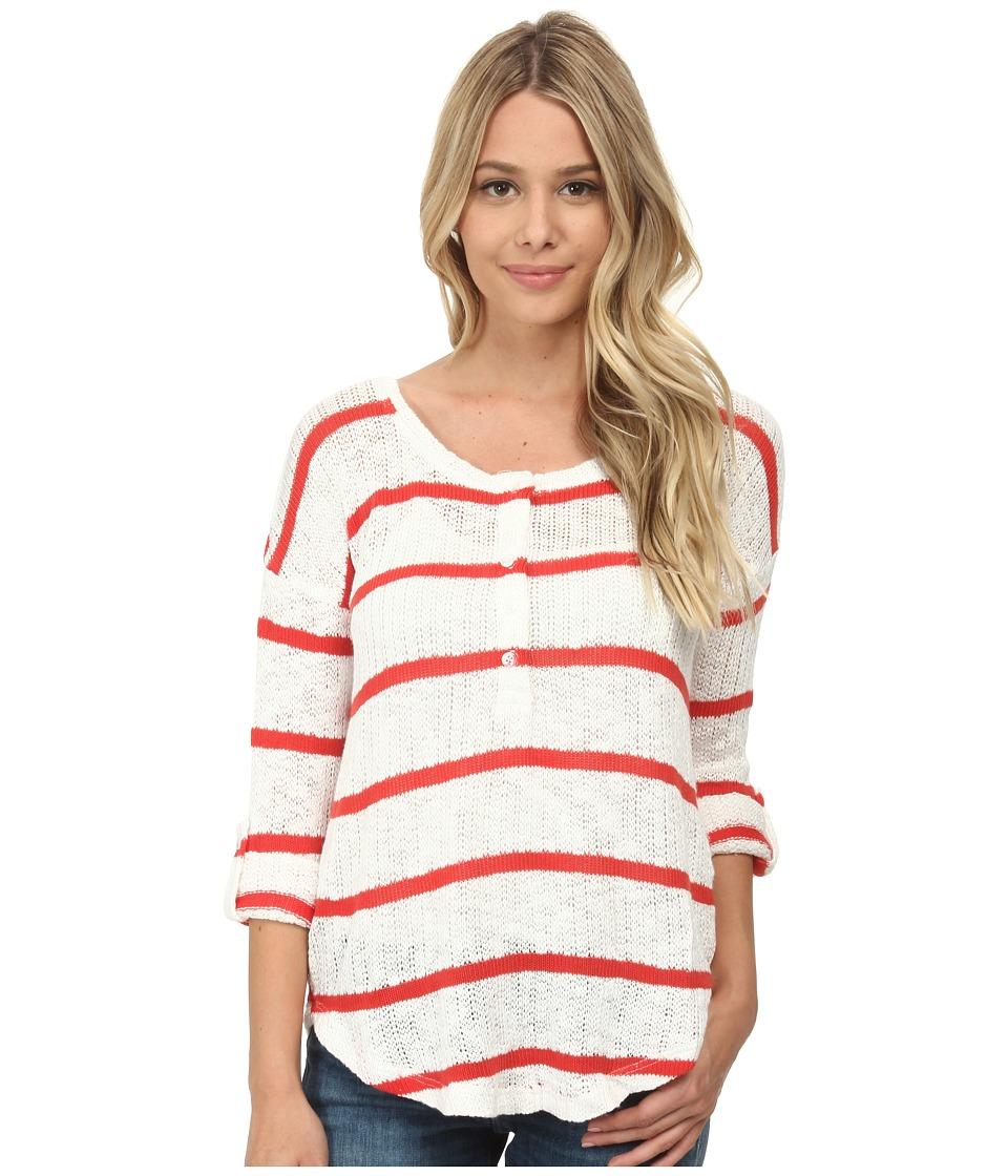 Splendid - Salina Stripe Loose Knit Henley (Soft White) Women's Long Sleeve Pullover