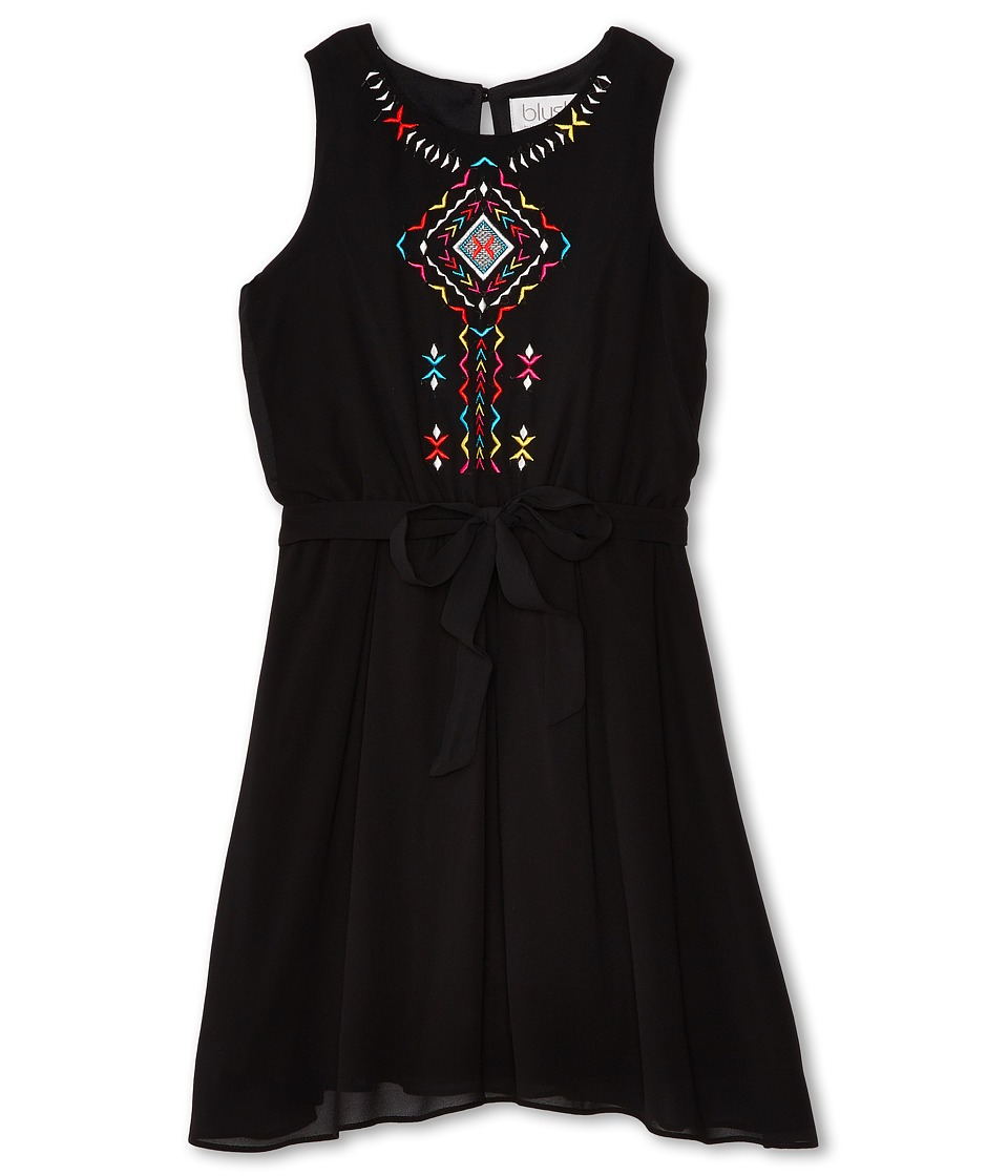 Us Angels - Sleeveless w/ Embroidery Tie Belt Dress (Big Kids) (Black) Girl's Dress