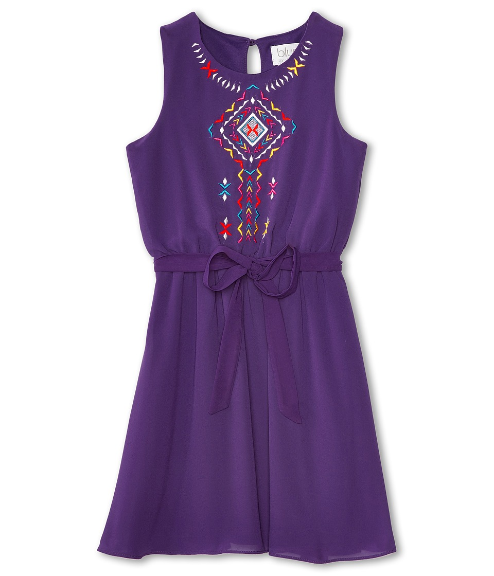 Us Angels - Sleeveless w/ Embroidery Tie Belt Dress (Big Kids) (Purple) Girl