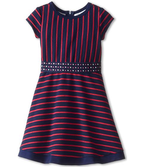 Us Angels - Striped Ottoman Short Sleeve w/ Embroidery Waist Full Skirt (Little Kids) (Berry) Girl