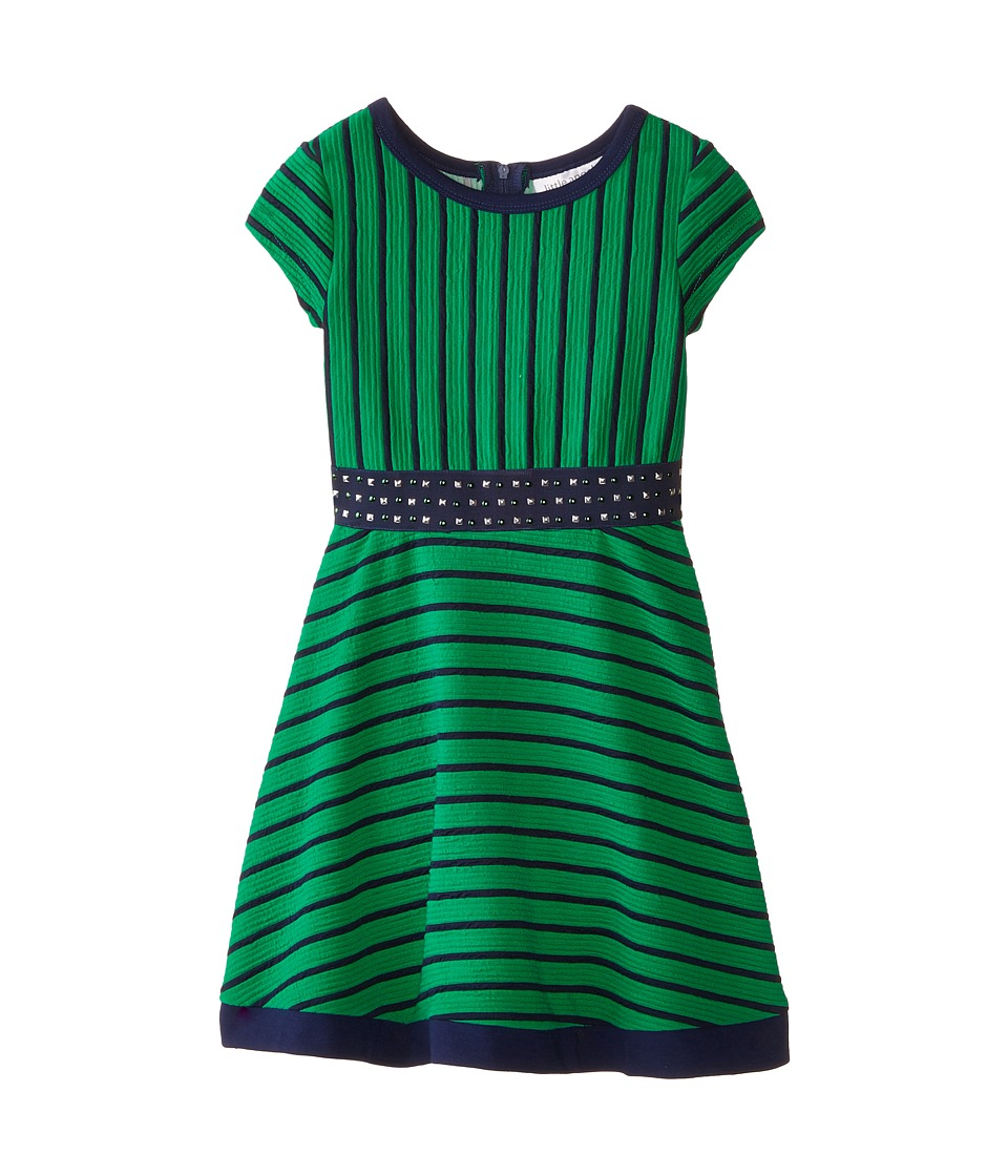 Us Angels - Striped Ottoman Short Sleeve w/ Embroidery Waist Full Skirt (Little Kids) (Emerald) Girl's Dress