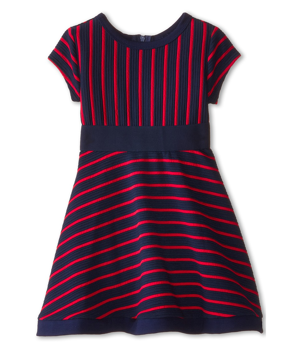 Us Angels - Striped Ottoman Short Sleeve w/ Embroidery Waist Full Skirt (Toddler) (Berry) Girl's Dress