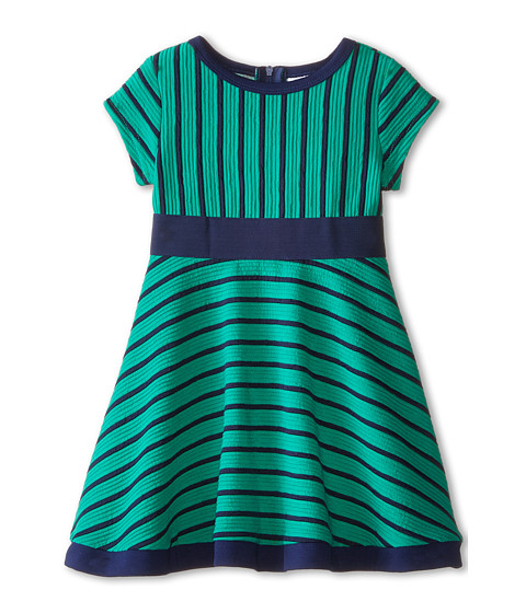 Us Angels - Striped Ottoman Short Sleeve w/ Embroidery Waist Full Skirt (Toddler) (Emerald) Girl