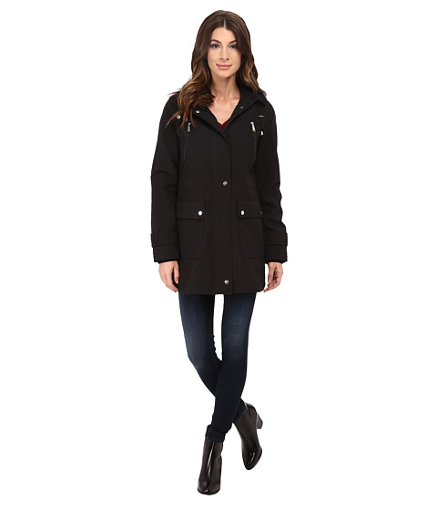 DKNY - 3/4 Hooded w/ Front Shields and Patch Pockets 51115-Y5 (Black) Women's Coat