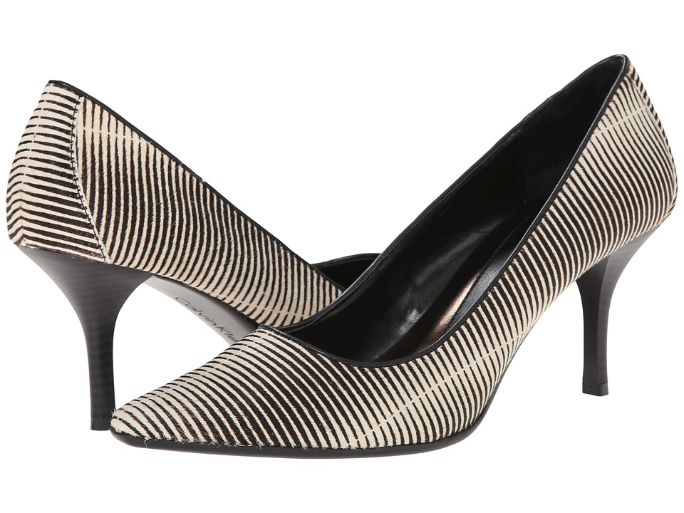 Calvin Klein - Dolly (White/Black Stripe Haircalf) High Heels