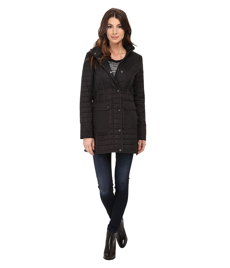 DKNY - Hooded 3/4 w/ Patch Pockets 53414-Y5 (Black) Women's Coat