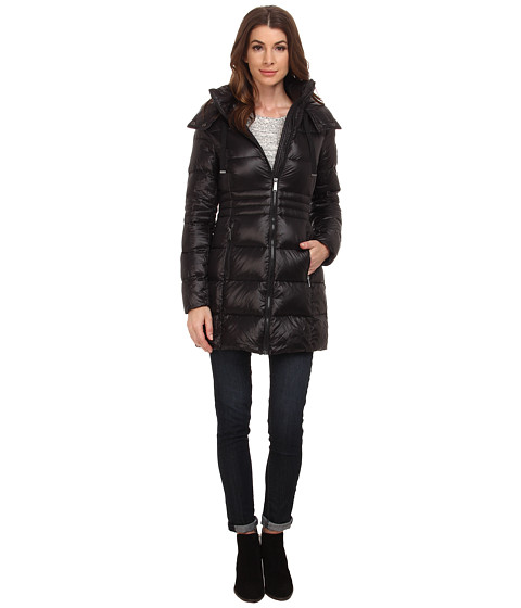 DKNY - 3/4 Horizontal w/ Inset Waist 97401-Y5 (Black) Women's Coat