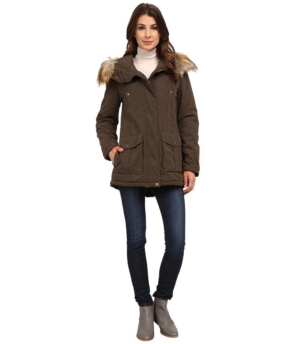 DKNY - Fur Hooded Anorak w/ Orange Contrast Lining 82441-Y5 (Olive) Women's Coat