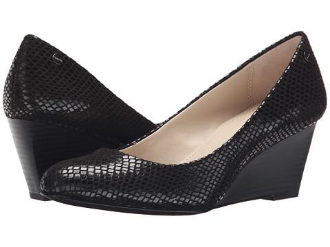 Calvin Klein - Saxton (Black Classic Python) Women's Wedge Shoes
