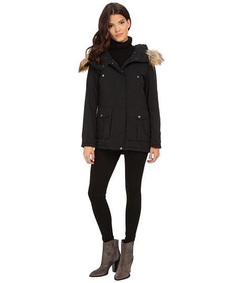 DKNY - Fur Hooded Anorak w/ Orange Contrast Lining 82441-Y5 (Black) Women's Coat