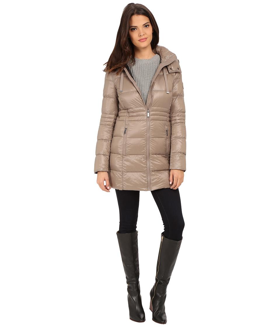 DKNY - 3/4 Horizontal w/ Inset Waist 97401-Y5 (Mushroom) Women's Coat