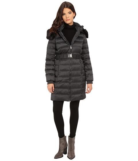 DKNY - Belted Coat w/ Detachable Faux Fur Collar 75909-Y5 (Steel) Women's Coat