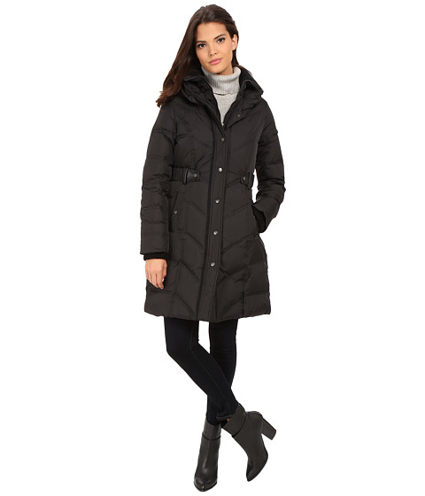DKNY - 3/4 Down w/ Chevron Panel Quilting 31809-Y5 (Black) Women's Coat