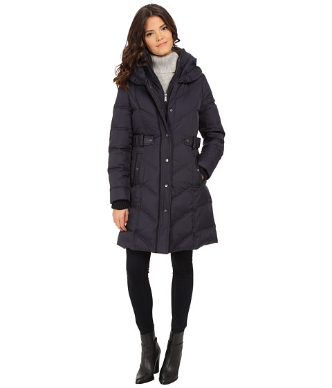 DKNY - 3/4 Down w/ Chevron Panel Quilting 31809-Y5 (Navy) Women's Coat