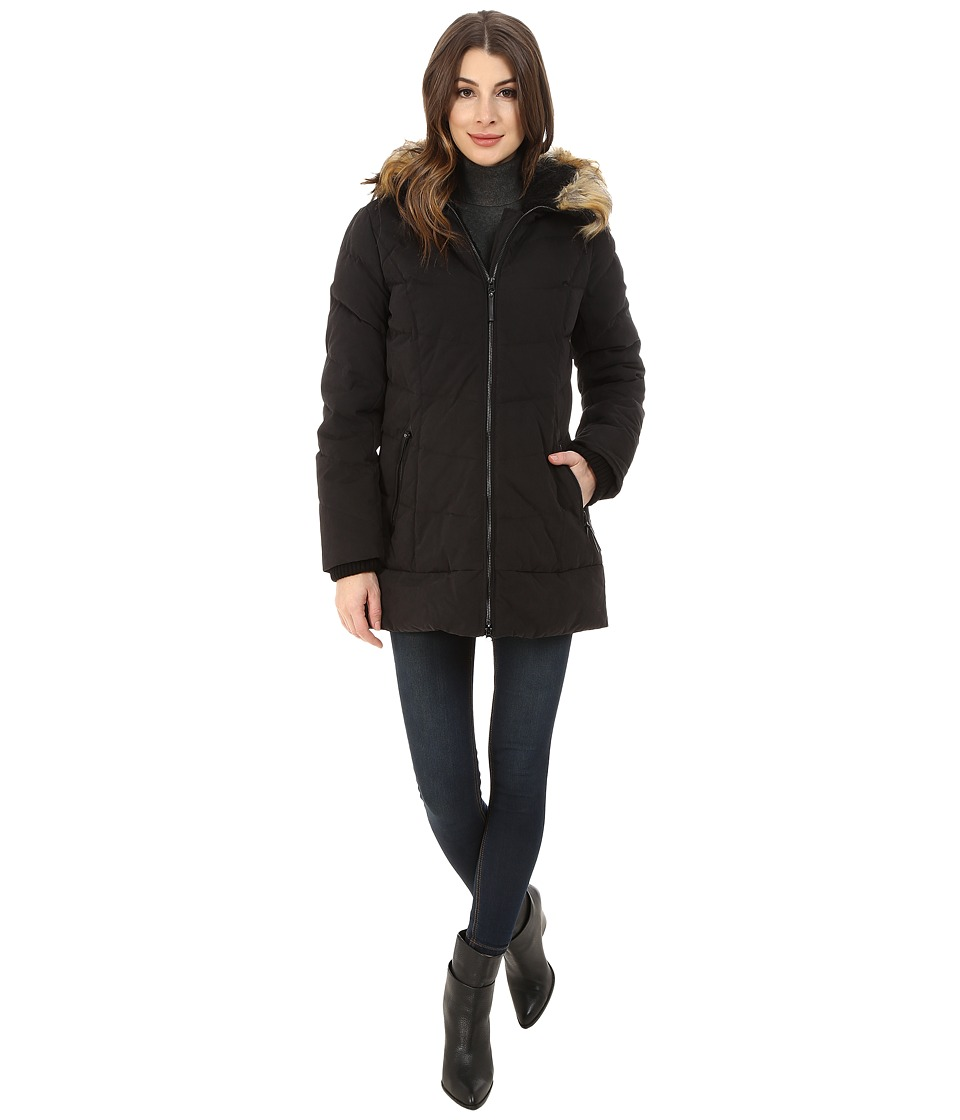 DKNY - 3/4 Quilted Anorak w/ Leather Details 82510-Y5 (Black) Women's Coat