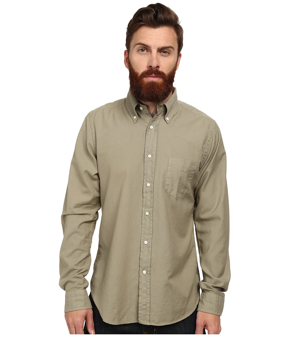 Gant Rugger - R. Fluffy Oxford Gmt Dyed Hobd (Military Green) Men's Long Sleeve Button Up