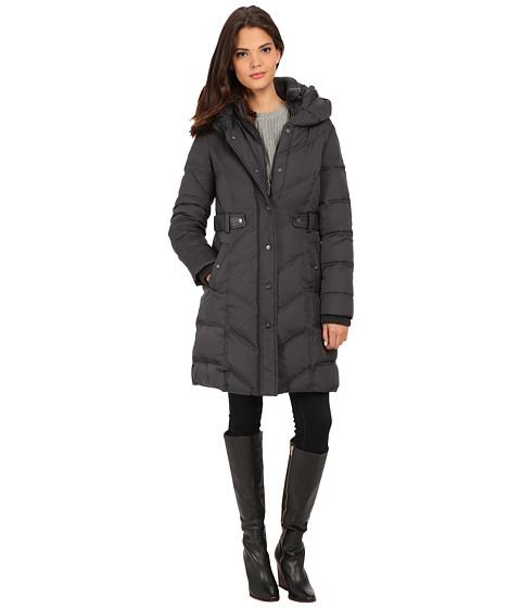 DKNY - 3/4 Down w/ Chevron Panel Quilting 31809-Y5 (Steel) Women's Coat