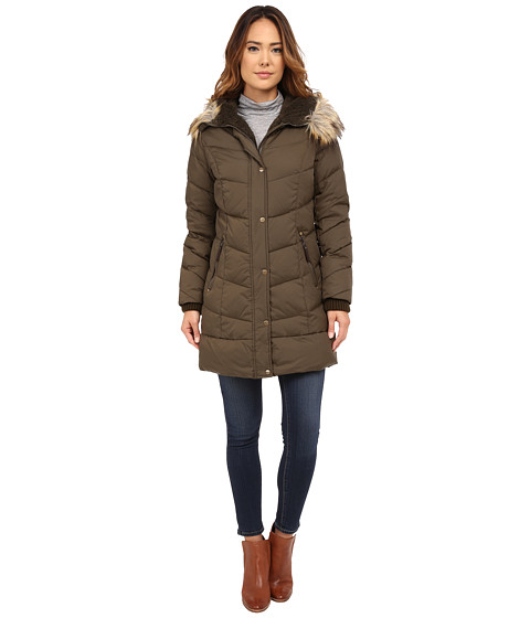 DKNY - 3/4 Down w/ Curved Quilting 31510-Y5 (Loden) Women's Coat
