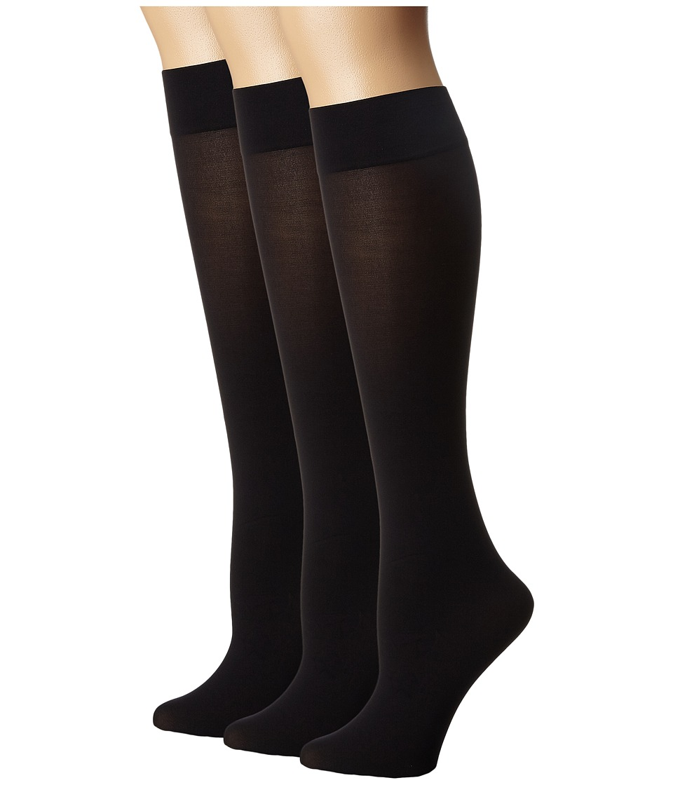 HUE - Opaque Knee High 3-Pack (Black) Women's Knee High Socks Shoes