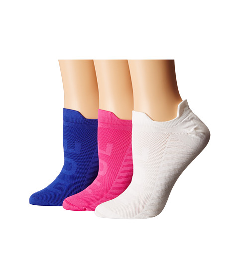 HUE - Air Sleek Front Back Tab 3 Pack (Royal Blue/White/Fusion Pink) Women's No Show Socks Shoes