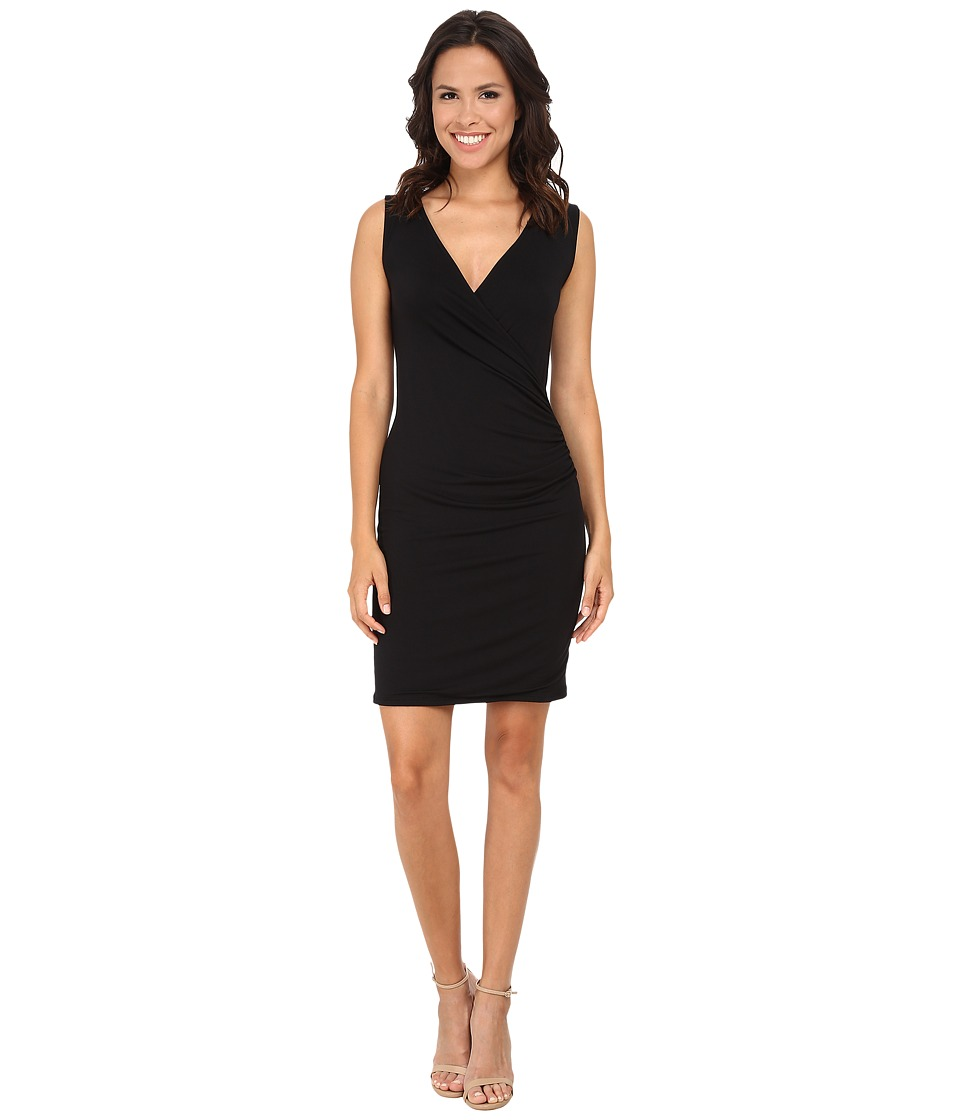 Michael Stars Exclusive Sleeveless Surplice Dress (Black) Women