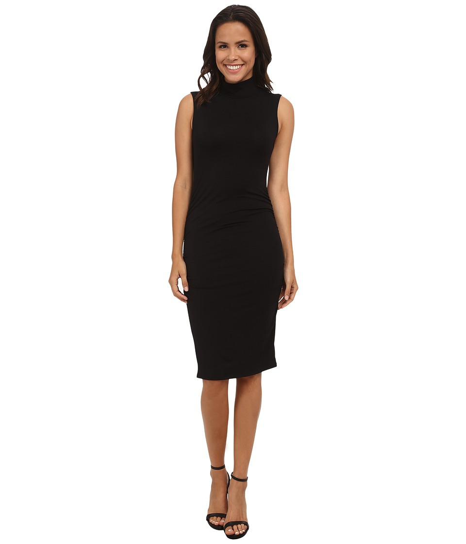 Michael Stars Sleeveless Turtleneck Dress w/ Shirring Detail (Black) Women