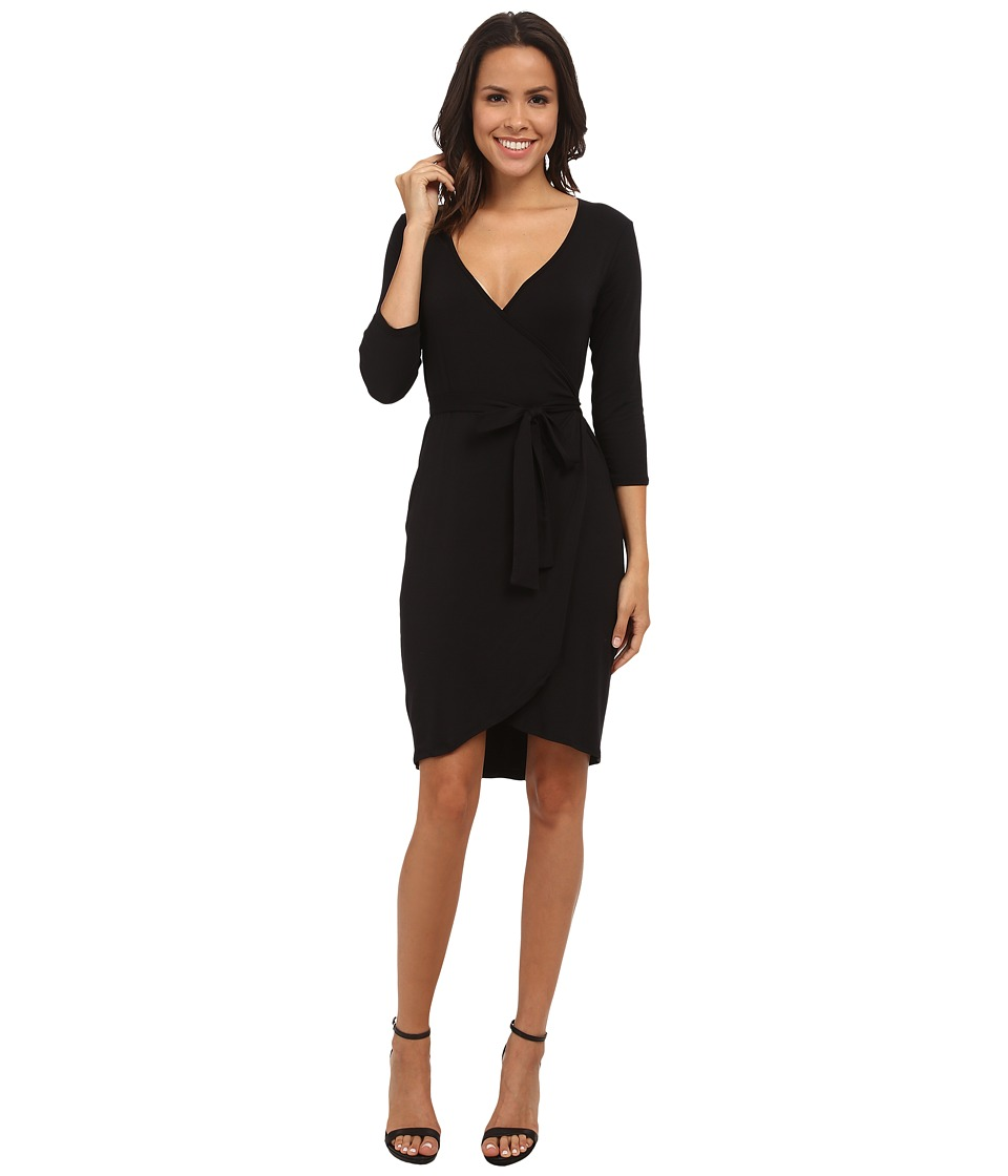 Michael Stars Exclusive 3/4 Sleeve Wrap Dress with Belted Waist (Black) Women